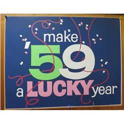 """Vintage Sign: Make '59 a Lucky Year 27""""x21"""""""