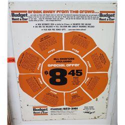"Vintage Sign: Budget Rent a Car Special Offer 22""x28"""