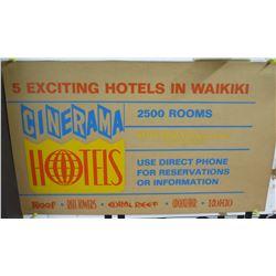 """Vintage Sign: Cinerama Hotels 5 in Waikiki 22""""x13"""""""