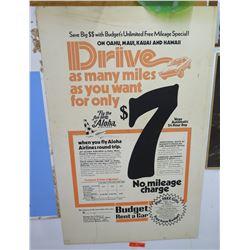 "Vintage Sign: Budget Rent a Car Special Offer 44""x28"""