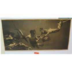 "Vintage Sign: First National Bank Underwater Scene 44""x21"""