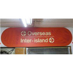 "Airport Sign: Overseas & Inter-Island w/ Arrows 57""x15"""