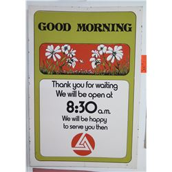 "Vintage Sign: Good Morning Thank You For Waiting 21""x31"""