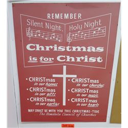 "Vintage Sign: Honolulu Council of Churches Christmas 22""x18"""