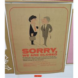 "Vintage Sign: American Security Bank Sorry We Are Closed 22""x28"""