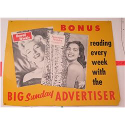 "Vintage Sign: Big Sunday Advertiser Bonus Reading 26""x20"""