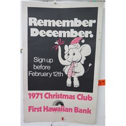 "Vintage Paper Sign: First Hawaiian Bank 1971 Christmas Club 14""x21"""