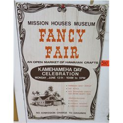 "Vintage Sign: Mission Homes Museum Fancy Fair 14""x22"""