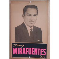 "Vintage Political Sign: Tony Mirafuentes (D) 14""x22"""