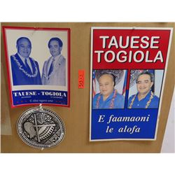 Qty 3 Political Signs: 2 Tauese-Togiola & Round Seal of American Samoa