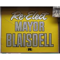 "Vintage Political Sign: Re-Elect Mayor Blasidell (R) 27""x21"" (has damage)"