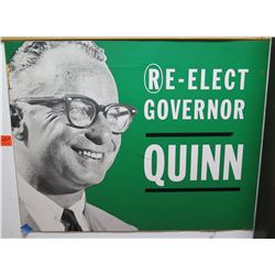 "Vintage Political Sign: Re-Elect Governor Quinn 26""x20"""