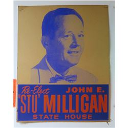 "Vintage Political Sign: Re-Elect John E. ""Stu"" Milligan State House"