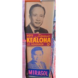 Qty 2 Vintage Political Paper Signs: Jimmie Kealoha Lt. Governor, Mirasol