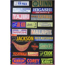 "Vintage Bumper Sticker Collage: Joe Kim, Tajiri, Yoshinaga, etc 44""x28"""