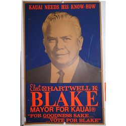Vintage Political Sign: Hartwell K. Blake Mayor for Kauai