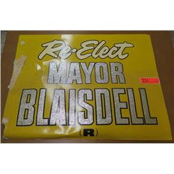 "Vintage Political Sign: Re-Elect Mayor Blasidell (R) 26""x20"""
