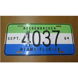 Vintage License Plate: Rickenbacker 4037 Sept.84, Miami-Florida