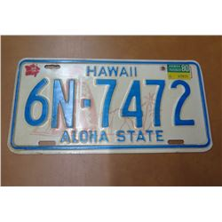 Vintage License Plate: Hawaii 6N-7472 Aloha State w/ 1980 Sticker