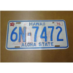Vintage License Plate: Hawaii 6N-7472 Aloha State 1976