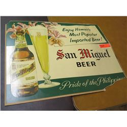"Vintage Sign: Enjoy San  Miguel Beer 26""x22"" (some damage)"