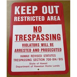 "Sign: Keep Out Restricted Area No Trespassing 17""x24"""