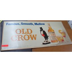 "Vintage Paper Sign: Famous, Smooth, Mellow Old Crow 44""x21"""