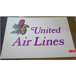 "Vintage Paper Sign: United Air Lines 36""x24"""