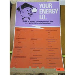 "Vintage Paper Sign: Your Energy IQ Quiz 33""x22"""