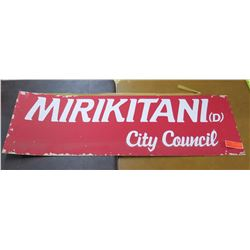 "Vintage Political Paper Sign: Mirikitani (D) City Council 44""x14"""