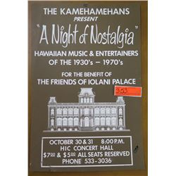 "Vintage Paper Sign: Night of Nostalgia Iolani Palace 15""x21"""