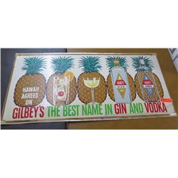 "Vintage Paper Sign: Gibley's Best Name in Gin & Vodka 44""x22"""