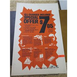 "Vintage Paper Sign: Rental Car Special Offer 28""x44"""