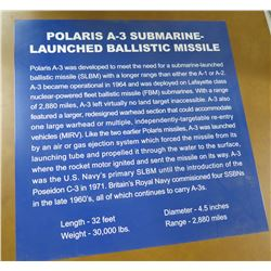 "Sign: Polaris A-3 Submarine Launched Ballistic Missile 24"" Square"