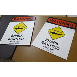 Qty 2 Paper Signs: Warning Shark Sighted Keep Out