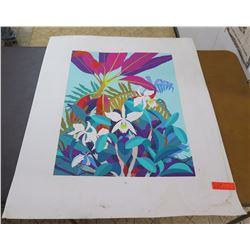"13-Color Screen Printed Serigraph, Orchids, by Artist John Thomas 32""x40"""