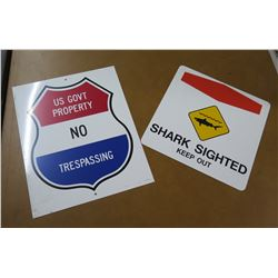 Qty 2 Metal Signs: Warning Shark Sighted & US Govt Property No Trespassing