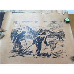 "Vintage Feher Print: Black & White Hawaiian Men Fishing 36""x46"""