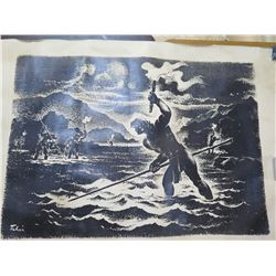 "Vintage Feher Print: Black & White Hawaiian Men Fishing 30""x42"""