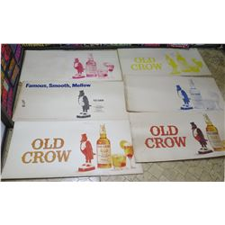Qty 6 Vintage Paper Signs: Old Crow Whiskey