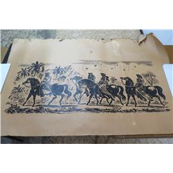 "Vintage Feher Print on Paper: Black & White Hawaiian Women Horseback 56""x36"""