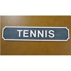 "Wall Mount Metal Sign: Tennis 24"" Length"