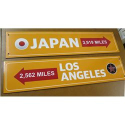 "Travel Signs: Japan 3,919 Miles & Los Angeles 2,562 Miles w/ Arrows 30""x7"""