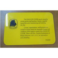 "Sign: Falls of Clyde Rental 12""x8"""