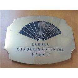 "Metal Sign: Kahala Mandarin Oriental Hawaii 17"" Across"