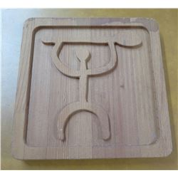 "Wood Hieroglyph Man Paddler 12"" x 12"""