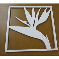 "Square Cut-Out White Bird of Paradise Flower 14.5""x14.5"" (has a crack)"