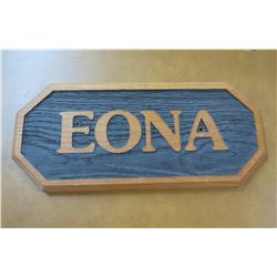 "Wall Mount Wood Sign: EONA 18"" Length"