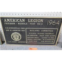 "Vintage Metal Sign: American Legion 1964 21"" Length"