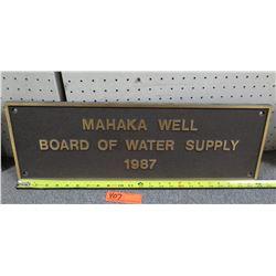"Vintage Metal Sign: Makaha Well Board of Water Supply 1987 24"" Length"